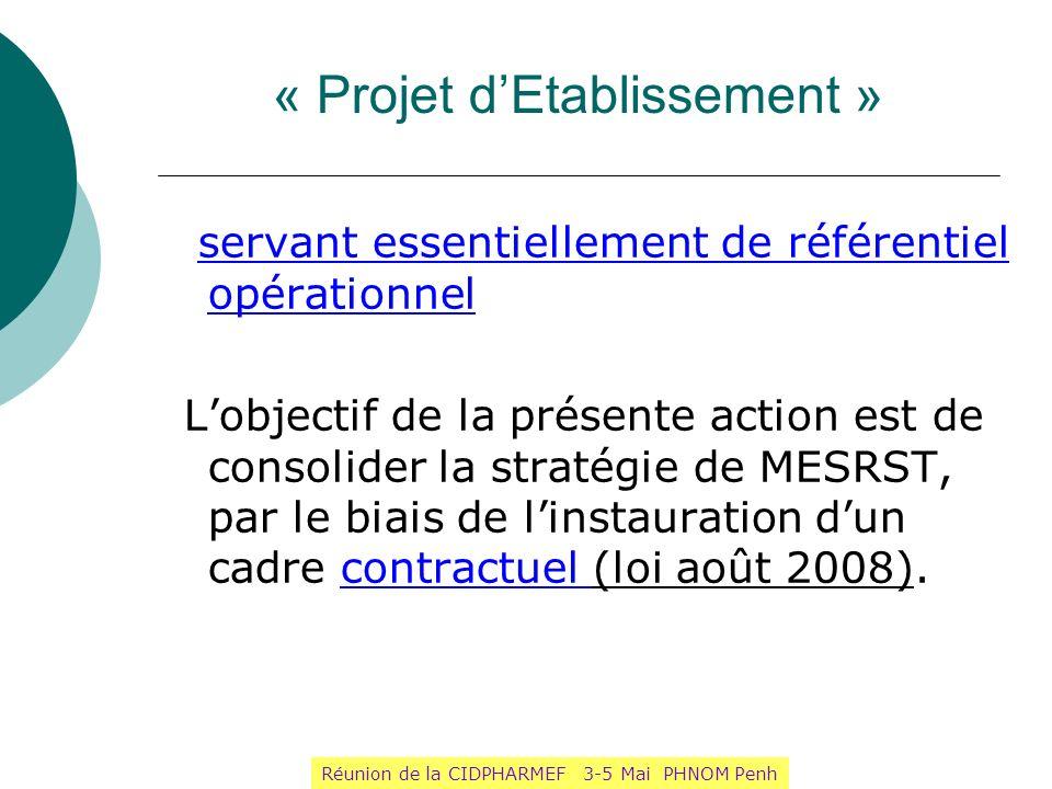 « Projet dEtablissement » servant essentiellement de référentiel opérationnel Lobjectif de la présente action est de consolider la stratégie de MESRST