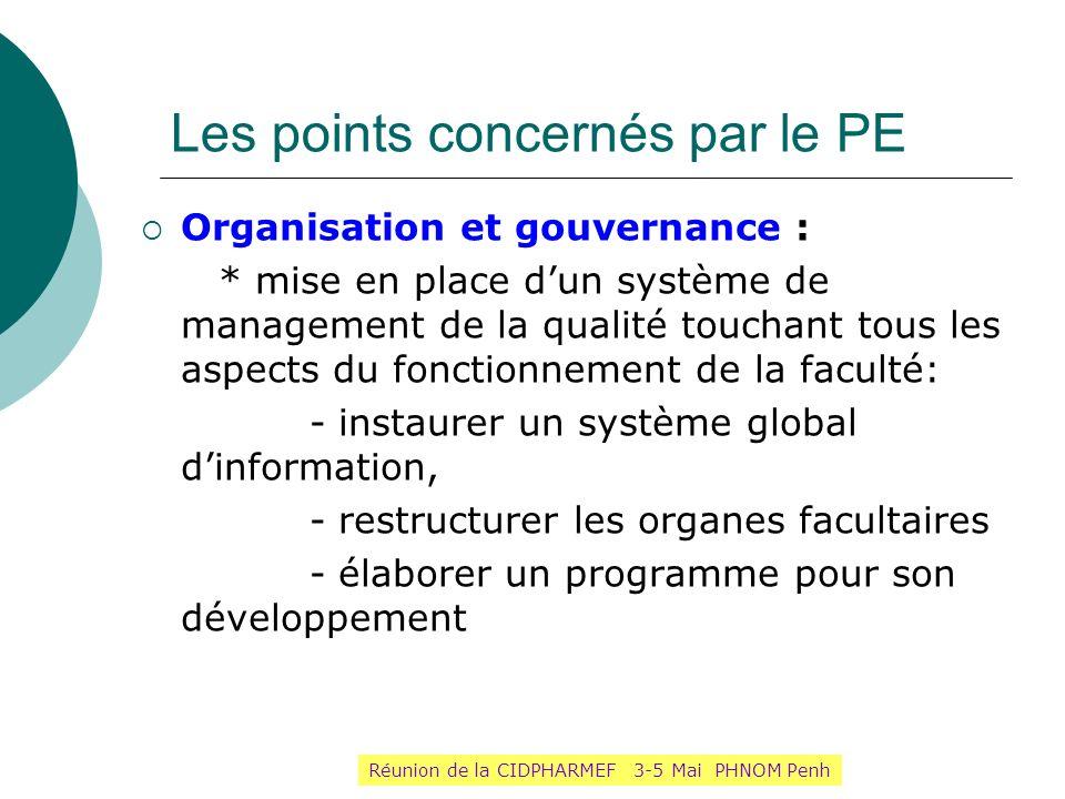 Les points concernés par le PE Organisation et gouvernance : * mise en place dun système de management de la qualité touchant tous les aspects du fonc