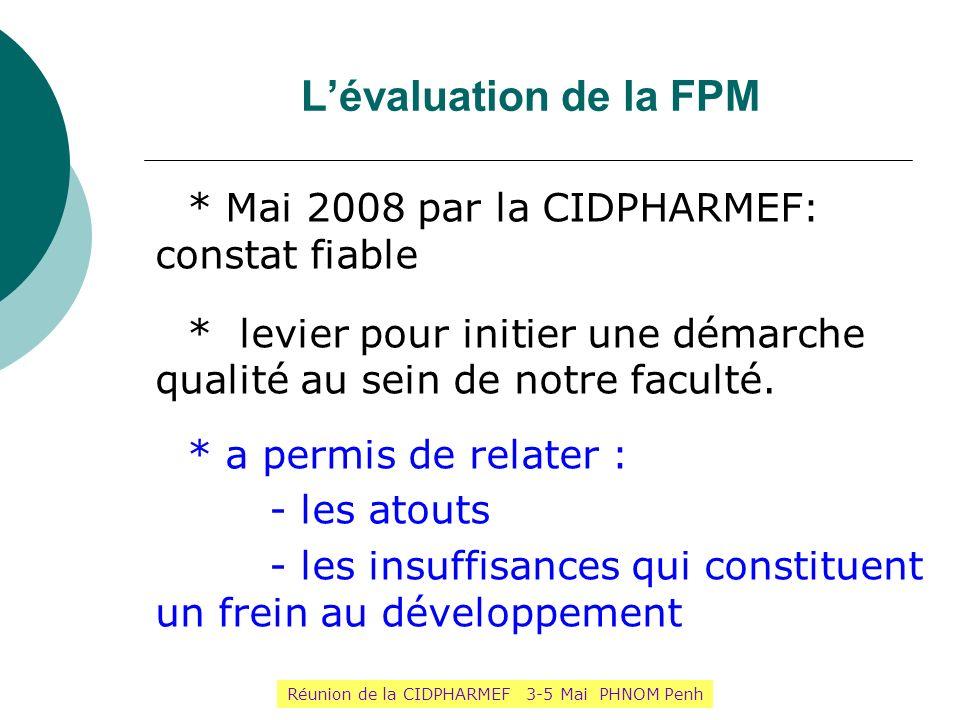 Lévaluation de la FPM * Mai 2008 par la CIDPHARMEF: constat fiable * levier pour initier une démarche qualité au sein de notre faculté. * a permis de
