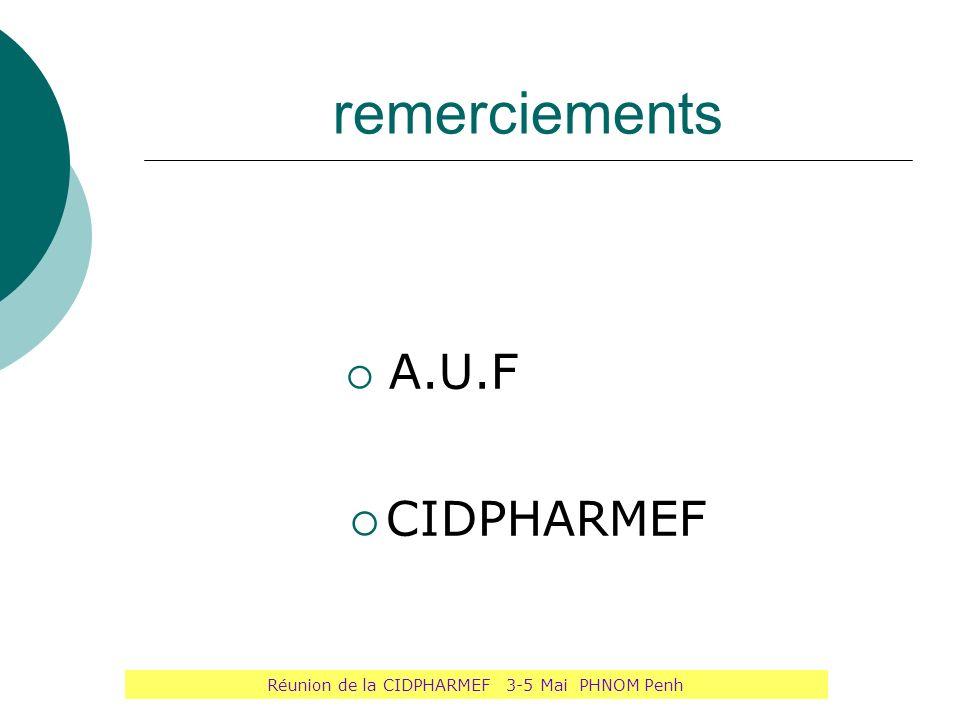 remerciements A.U.F CIDPHARMEF Réunion de la CIDPHARMEF 3-5 Mai PHNOM Penh