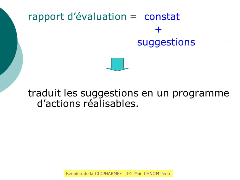 rapport dévaluation = constat + suggestions traduit les suggestions en un programme dactions réalisables. le programme dactions se transforme en un co