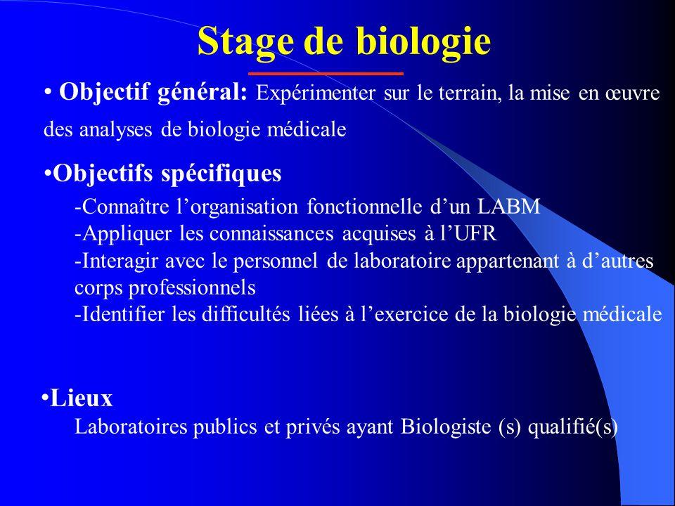 Stage de biologie Objectif général: Expérimenter sur le terrain, la mise en œuvre des analyses de biologie médicale Objectifs spécifiques -Connaître l