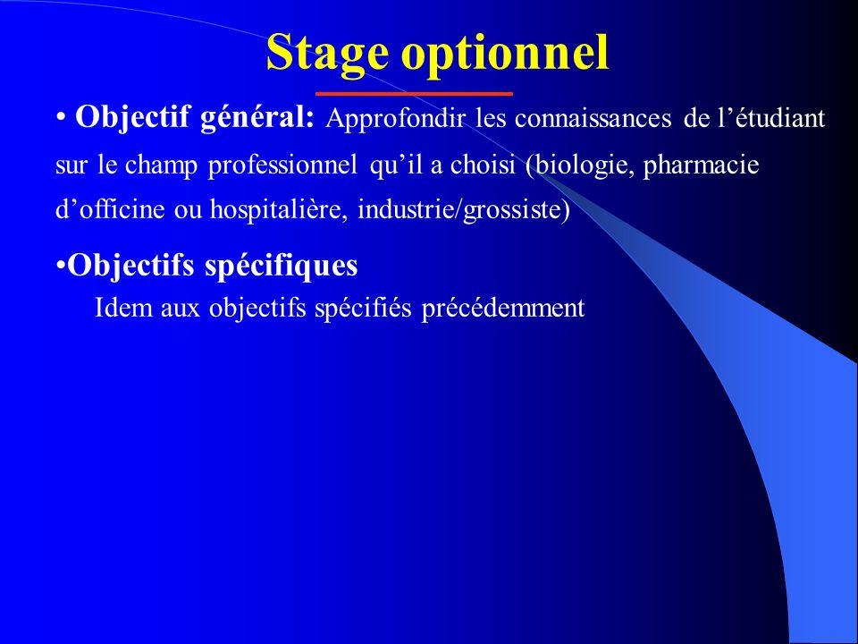 Stage optionnel Objectif général: Approfondir les connaissances de létudiant sur le champ professionnel quil a choisi (biologie, pharmacie dofficine o