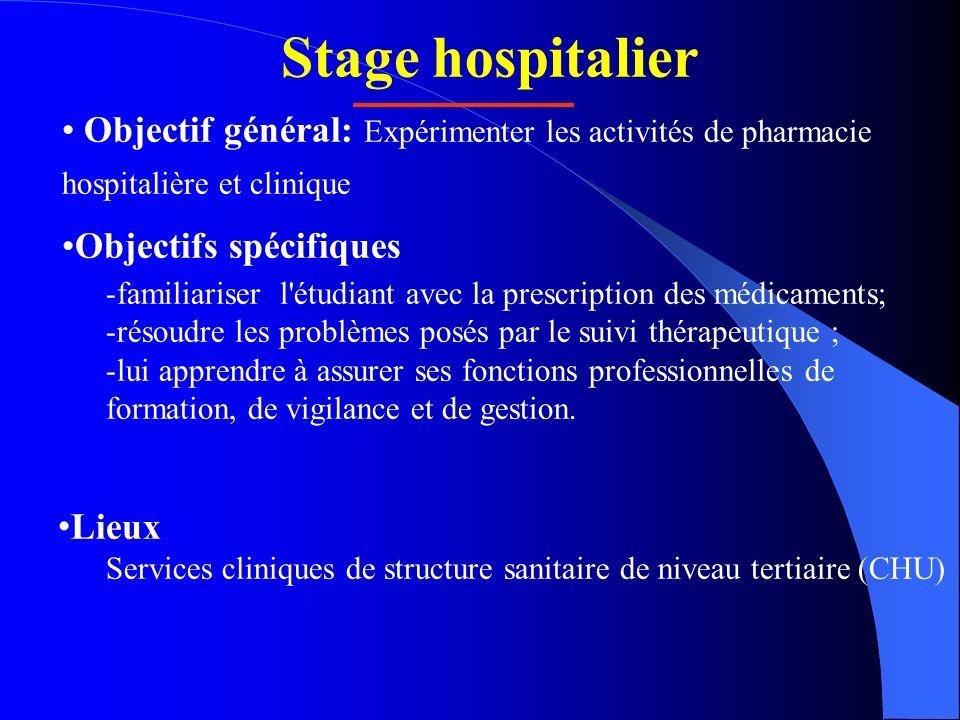 Stage hospitalier Objectif général: Expérimenter les activités de pharmacie hospitalière et clinique Objectifs spécifiques -familiariser l'étudiant av