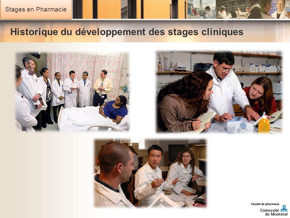 Stages en Pharmacie Historique du développement des stages cliniques