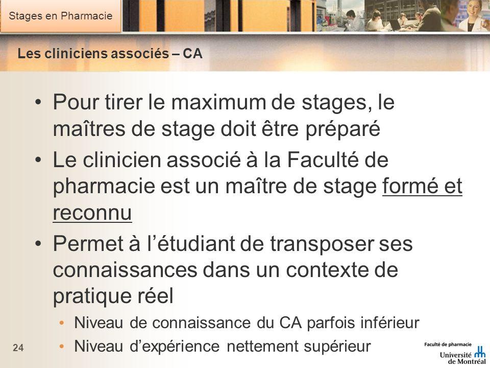 Stages en Pharmacie Les cliniciens associés – CA Pour tirer le maximum de stages, le maîtres de stage doit être préparé Le clinicien associé à la Facu