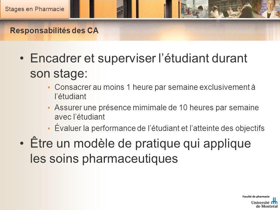 Stages en Pharmacie Responsabilités des CA Encadrer et superviser létudiant durant son stage: Consacrer au moins 1 heure par semaine exclusivement à l