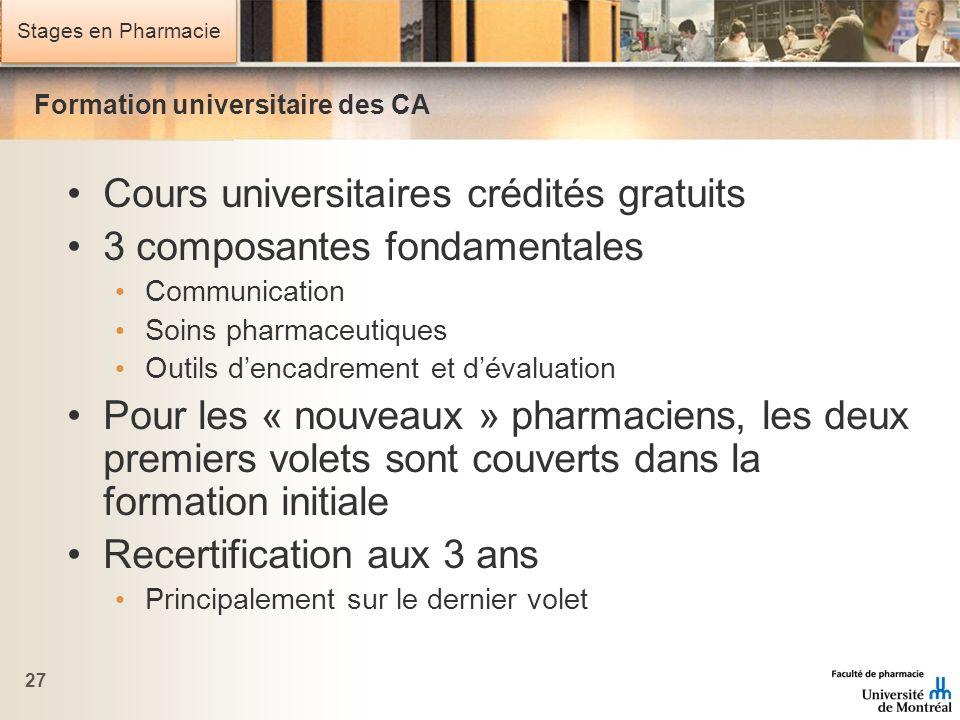 Stages en Pharmacie Formation universitaire des CA Cours universitaires crédités gratuits 3 composantes fondamentales Communication Soins pharmaceutiq