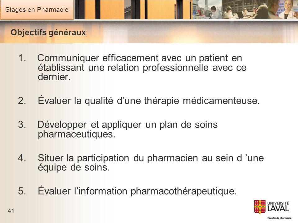 Stages en Pharmacie 41 Objectifs généraux 1. Communiquer efficacement avec un patient en établissant une relation professionnelle avec ce dernier. 2.É