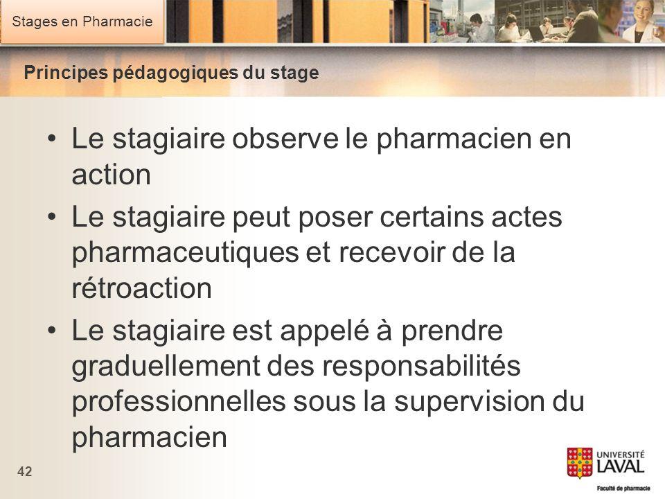 Stages en Pharmacie Principes pédagogiques du stage Le stagiaire observe le pharmacien en action Le stagiaire peut poser certains actes pharmaceutique