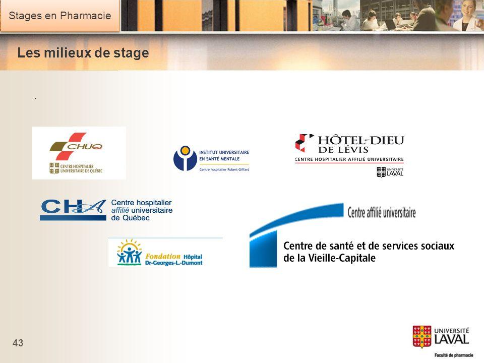Stages en Pharmacie 43 Les milieux de stage.