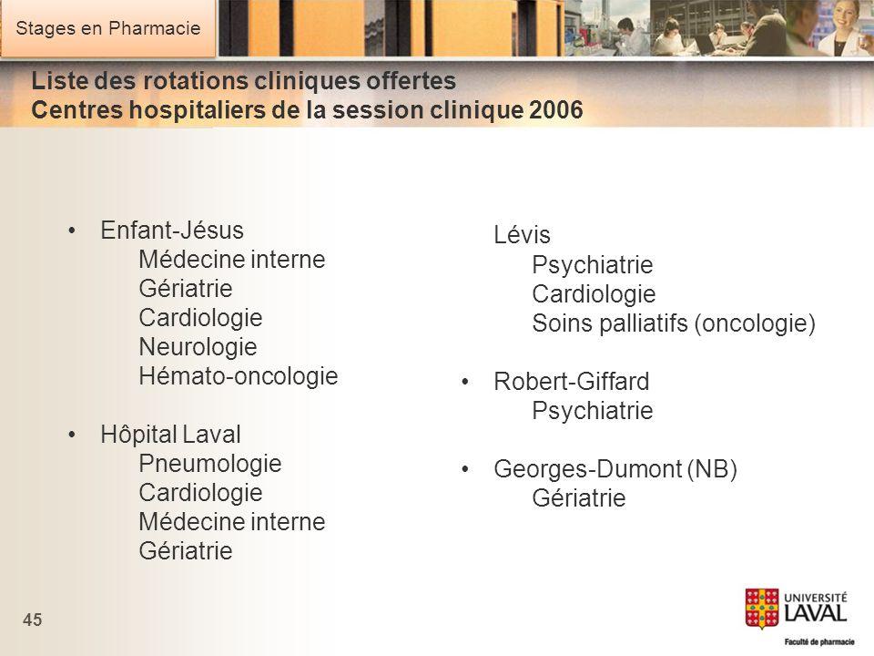 Stages en Pharmacie 45 Enfant-Jésus Médecine interne Gériatrie Cardiologie Neurologie Hémato-oncologie Hôpital Laval Pneumologie Cardiologie Médecine