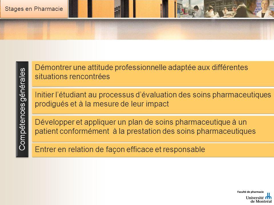 Stages en Pharmacie Compétences générales Entrer en relation de façon efficace et responsable Développer et appliquer un plan de soins pharmaceutique