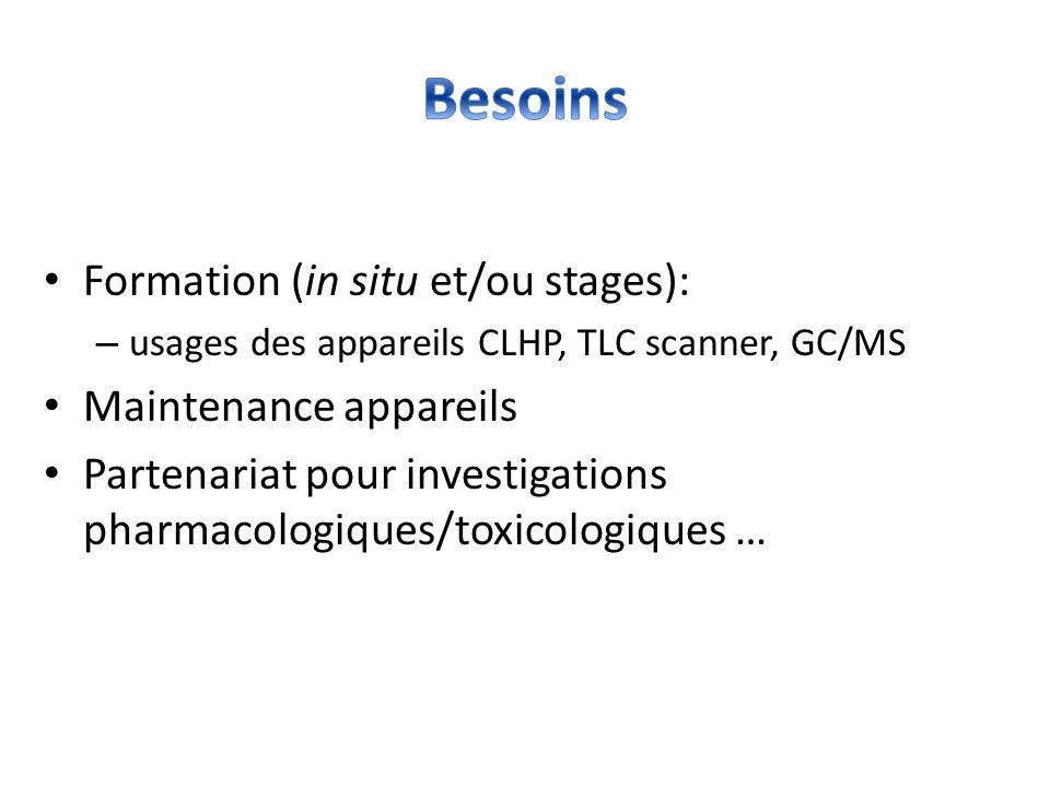 Formation (in situ et/ou stages): – usages des appareils CLHP, TLC scanner, GC/MS Maintenance appareils Partenariat pour investigations pharmacologiqu