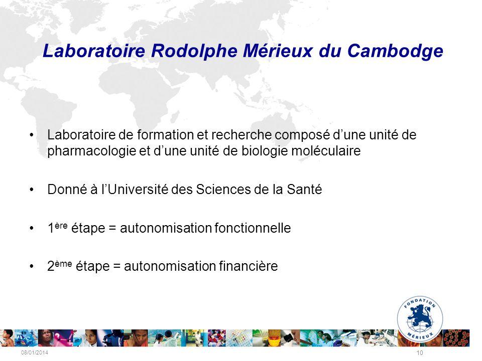 08/01/2014 10 Laboratoire Rodolphe Mérieux du Cambodge Laboratoire de formation et recherche composé dune unité de pharmacologie et dune unité de biol