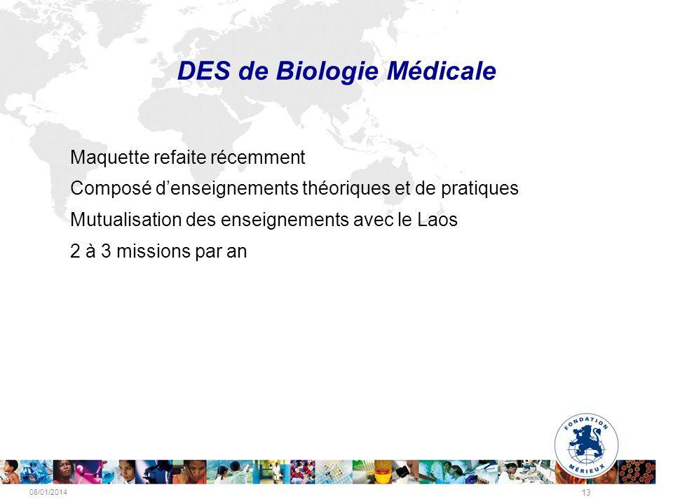 08/01/2014 13 DES de Biologie Médicale Maquette refaite récemment Composé denseignements théoriques et de pratiques Mutualisation des enseignements av