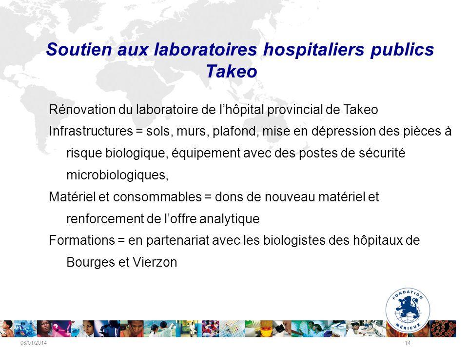 08/01/2014 14 Soutien aux laboratoires hospitaliers publics Takeo Rénovation du laboratoire de lhôpital provincial de Takeo Infrastructures = sols, mu
