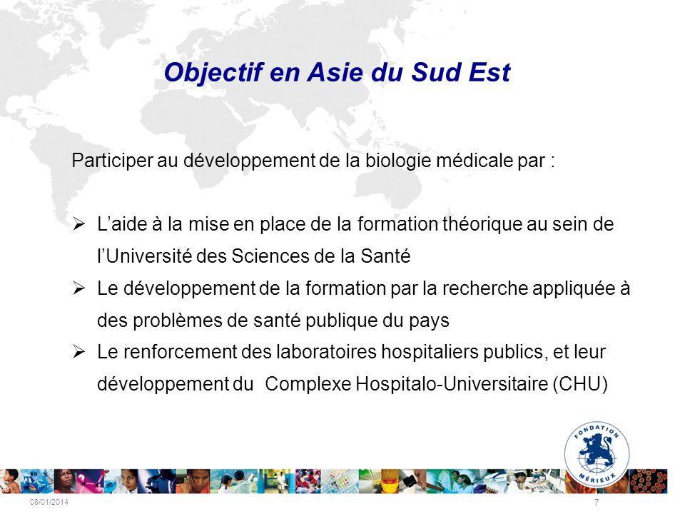 08/01/2014 7 Objectif en Asie du Sud Est Participer au développement de la biologie médicale par : Laide à la mise en place de la formation théorique