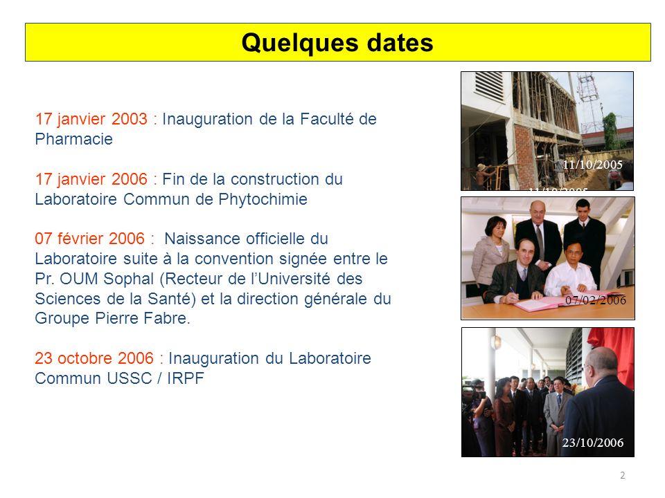 3 Laboratoire Commun de Phytochimie (USSC / IRPF) Faculté de Pharmacie - Phnom Penh LOCALISATION DU LABORATOIRE COMMUN
