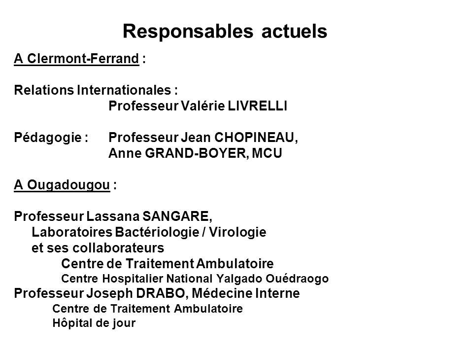 A Clermont-Ferrand : Relations Internationales : Professeur Valérie LIVRELLI Pédagogie :Professeur Jean CHOPINEAU, Anne GRAND-BOYER, MCU A Ougadougou