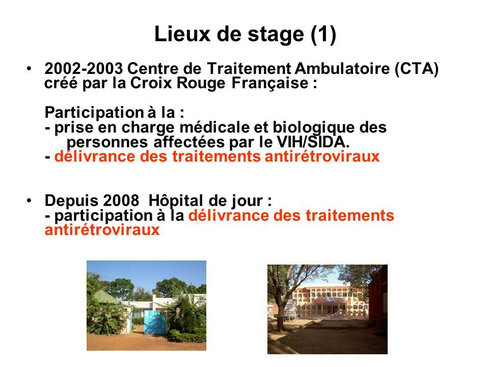 Lieux de stage (1) 2002-2003 Centre de Traitement Ambulatoire (CTA) créé par la Croix Rouge Française : Participation à la : - prise en charge médical