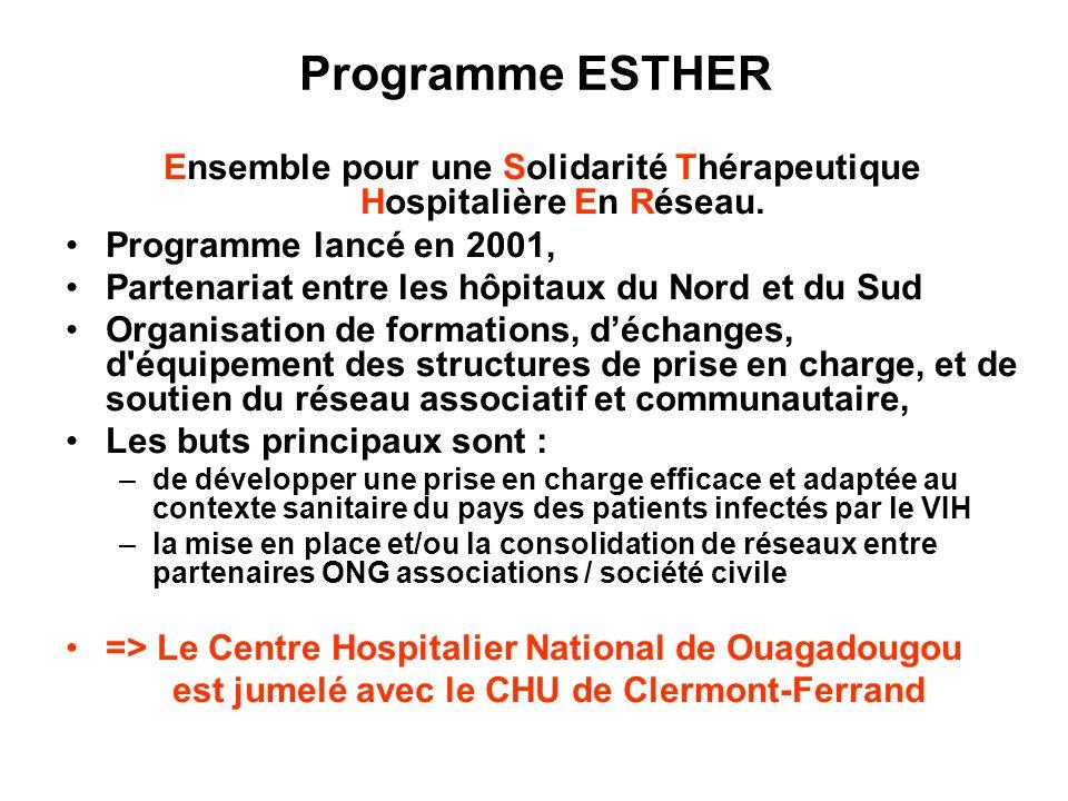 Ensemble pour une Solidarité Thérapeutique Hospitalière En Réseau. Programme lancé en 2001, Partenariat entre les hôpitaux du Nord et du Sud Organisat