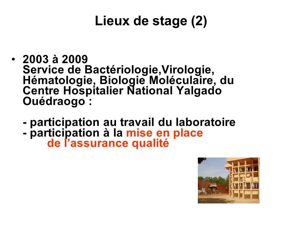 Lieux de stage (2) 2003 à 2009 Service de Bactériologie,Virologie, Hématologie, Biologie Moléculaire, du Centre Hospitalier National Yalgado Ouédraogo