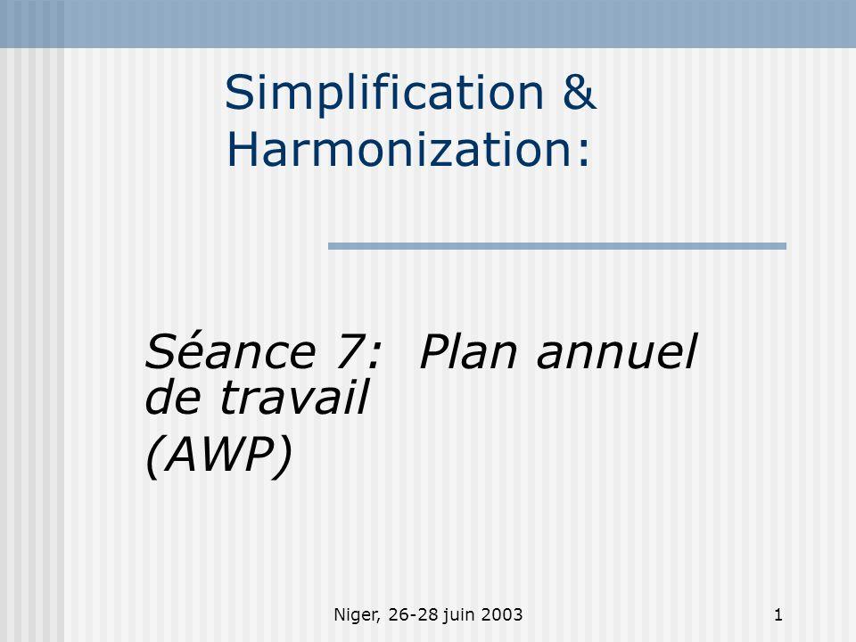 Niger, 26-28 juin 20031 Simplification & Harmonization: Séance 7: Plan annuel de travail (AWP)
