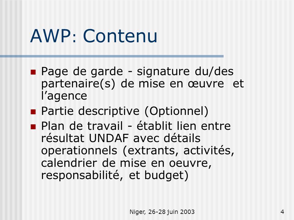 Niger, 26-28 juin 20035 AWP: Valeur ajoutée Format standard, simple, et clair Facilite communication entre agences et partenaires au sujet des détails opérationnels Pourrait servir doutil de suivi et de base pour la revue annuel