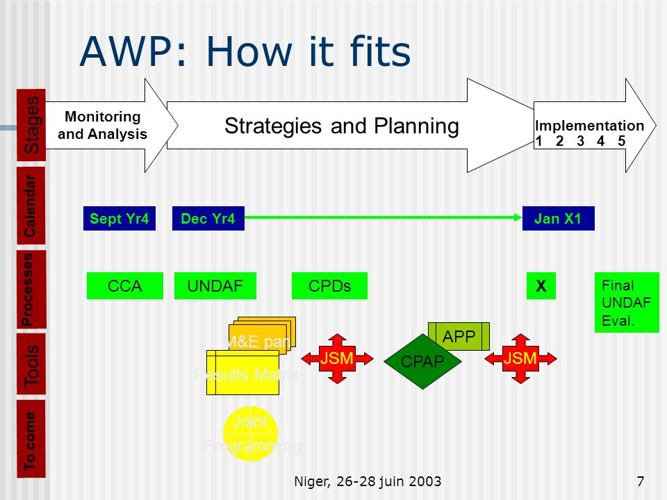 Niger, 26-28 juin 20037 AWP: How it fits Processes CCAUNDAFCPDsX Final UNDAF Eval.