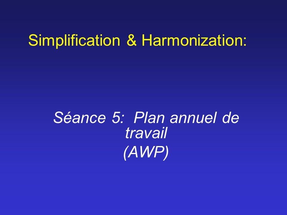 Simplification & Harmonization: Séance 5: Plan annuel de travail (AWP)