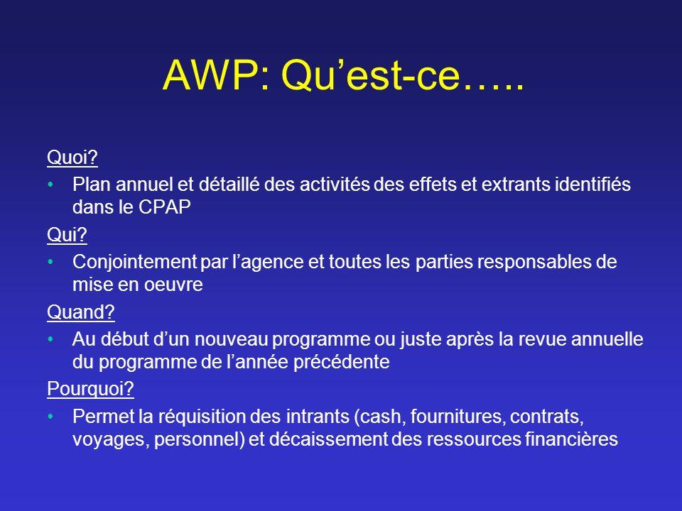 AWP: Quest-ce….. Quoi? Plan annuel et détaillé des activités des effets et extrants identifiés dans le CPAP Qui? Conjointement par lagence et toutes l