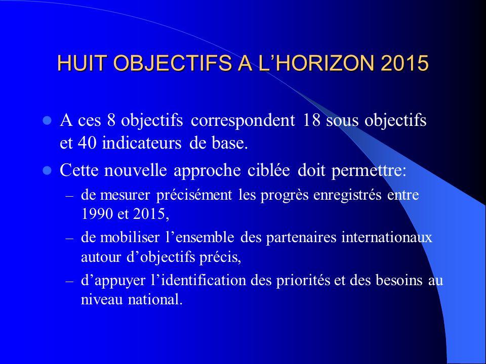 HUIT OBJECTIFS A LHORIZON 2015 A ces 8 objectifs correspondent 18 sous objectifs et 40 indicateurs de base.