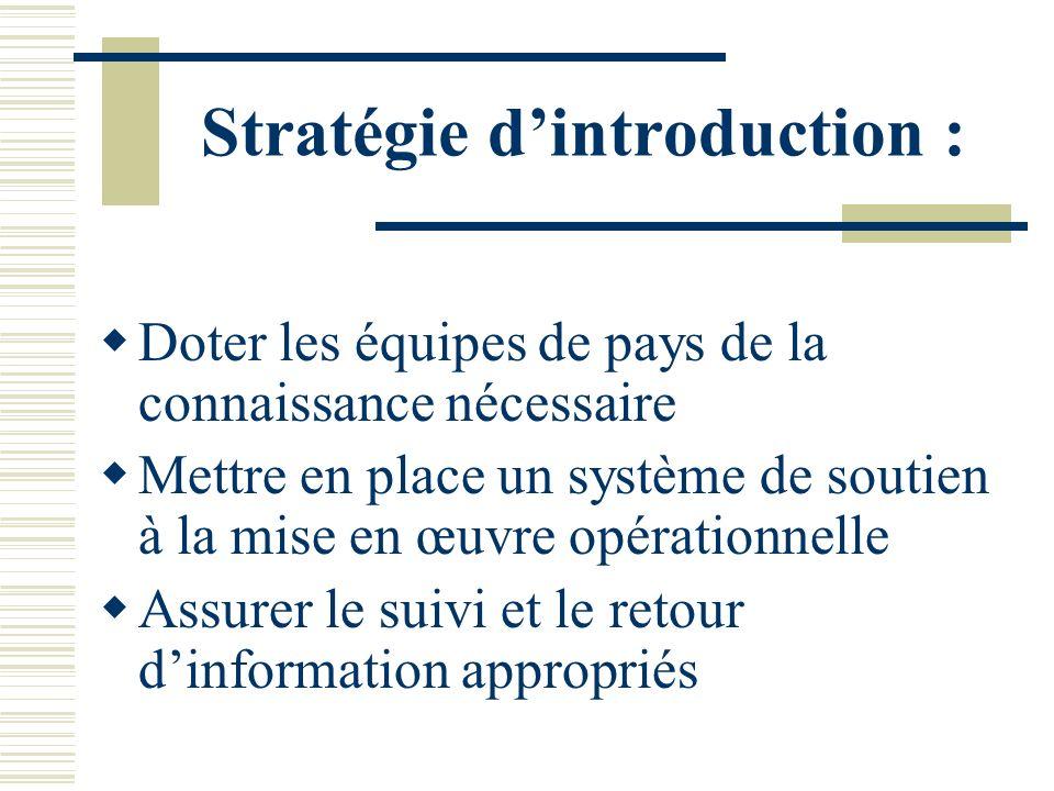 Stratégie dintroduction : Doter les équipes de pays de la connaissance nécessaire Mettre en place un système de soutien à la mise en œuvre opérationnelle Assurer le suivi et le retour dinformation appropriés