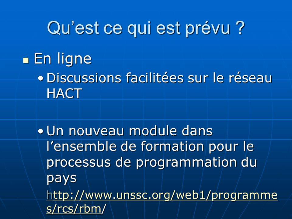 Quest ce qui est prévu ? En ligne En ligne Discussions facilitées sur le réseau HACTDiscussions facilitées sur le réseau HACT Un nouveau module dans l