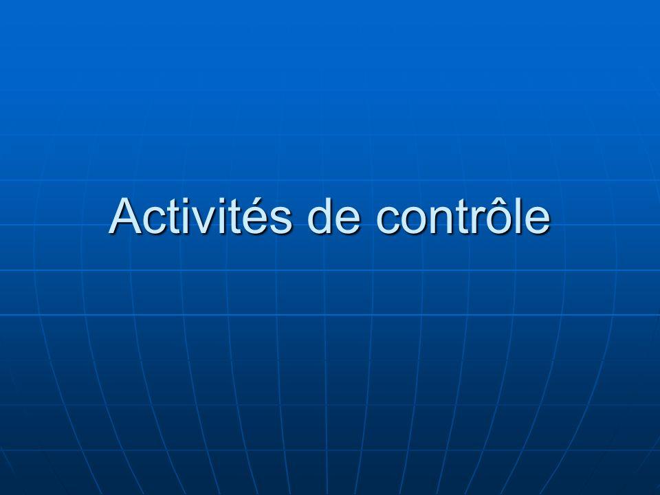 Activités de contrôle