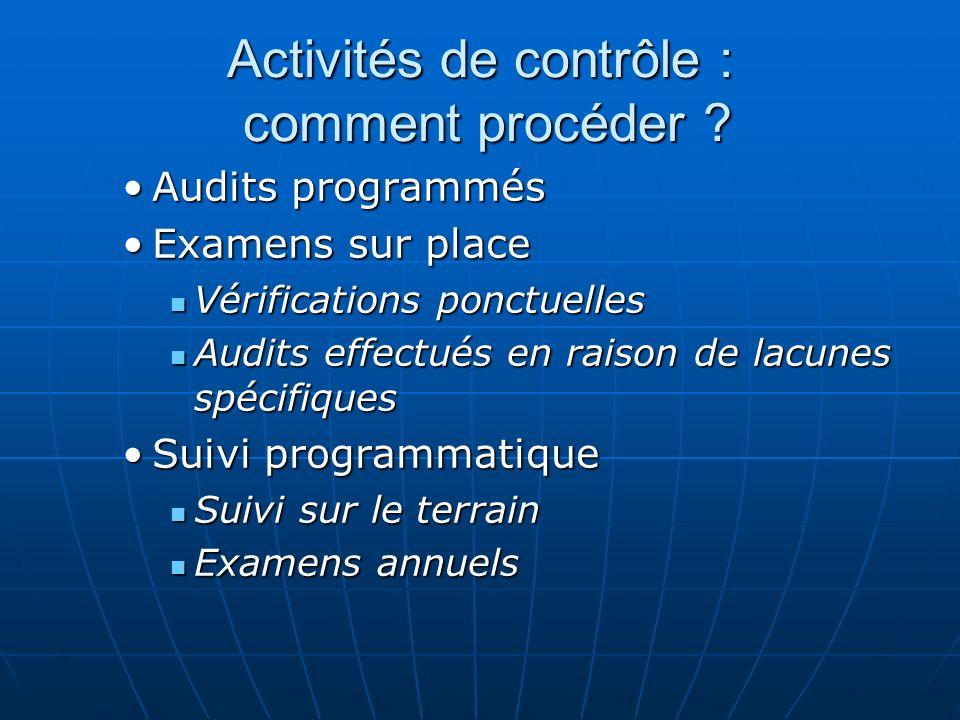 Activités de contrôle : comment procéder .