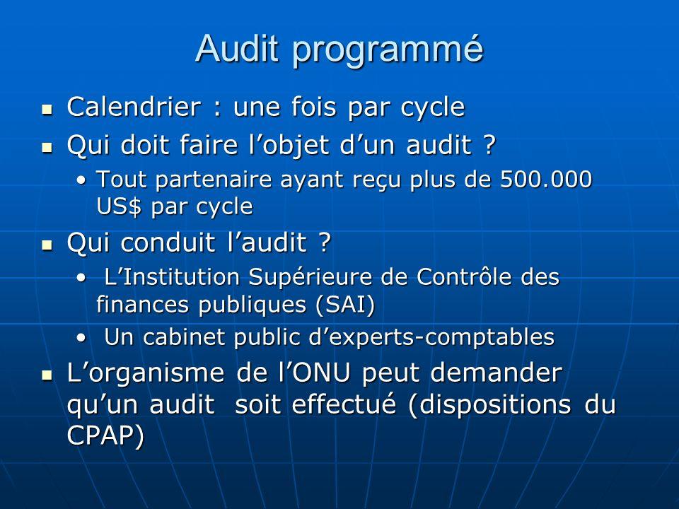 Audit programmé Calendrier : une fois par cycle Calendrier : une fois par cycle Qui doit faire lobjet dun audit .