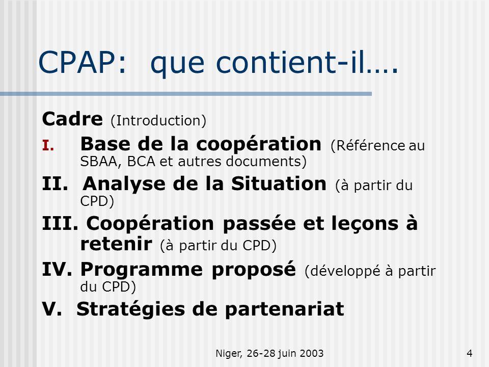 Niger, 26-28 juin 20034 CPAP: que contient-il…. Cadre (Introduction) I. Base de la coopération (Référence au SBAA, BCA et autres documents) II. Analys
