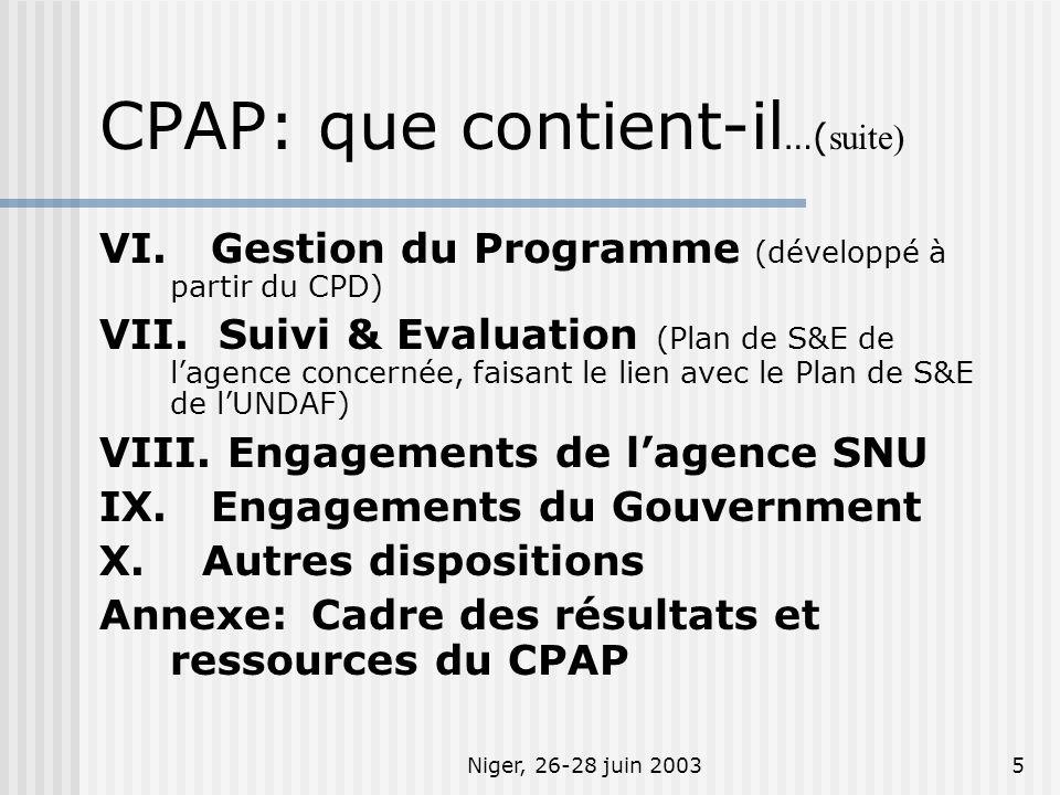 Niger, 26-28 juin 20035 VI. Gestion du Programme (développé à partir du CPD) VII. Suivi & Evaluation (Plan de S&E de lagence concernée, faisant le lie