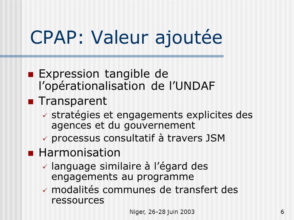 Niger, 26-28 juin 20036 CPAP: Valeur ajoutée Expression tangible de lopérationalisation de lUNDAF Transparent stratégies et engagements explicites des agences et du gouvernement processus consultatif à travers JSM Harmonisation language similaire à légard des engagements au programme modalités communes de transfert des ressources