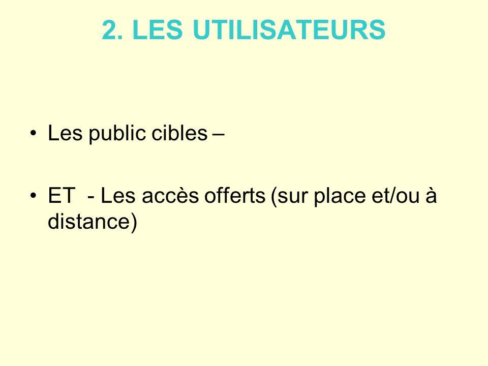2. LES UTILISATEURS Les public cibles – ET - Les accès offerts (sur place et/ou à distance)