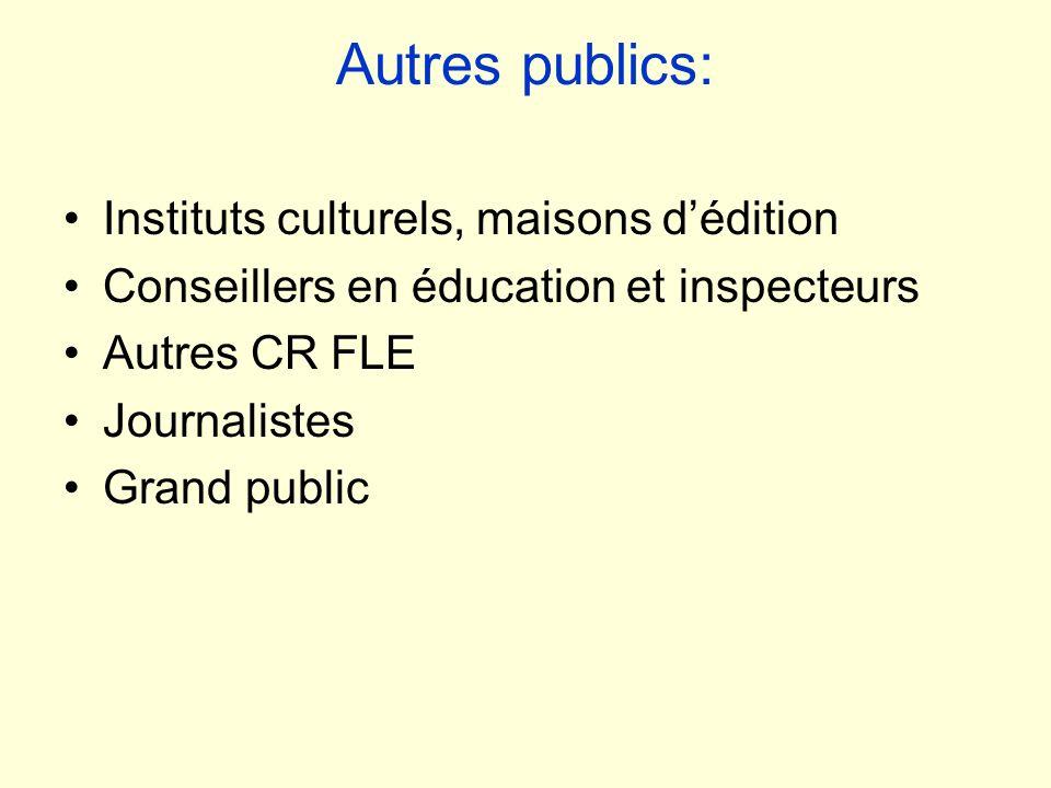 Autres publics: Instituts culturels, maisons dédition Conseillers en éducation et inspecteurs Autres CR FLE Journalistes Grand public