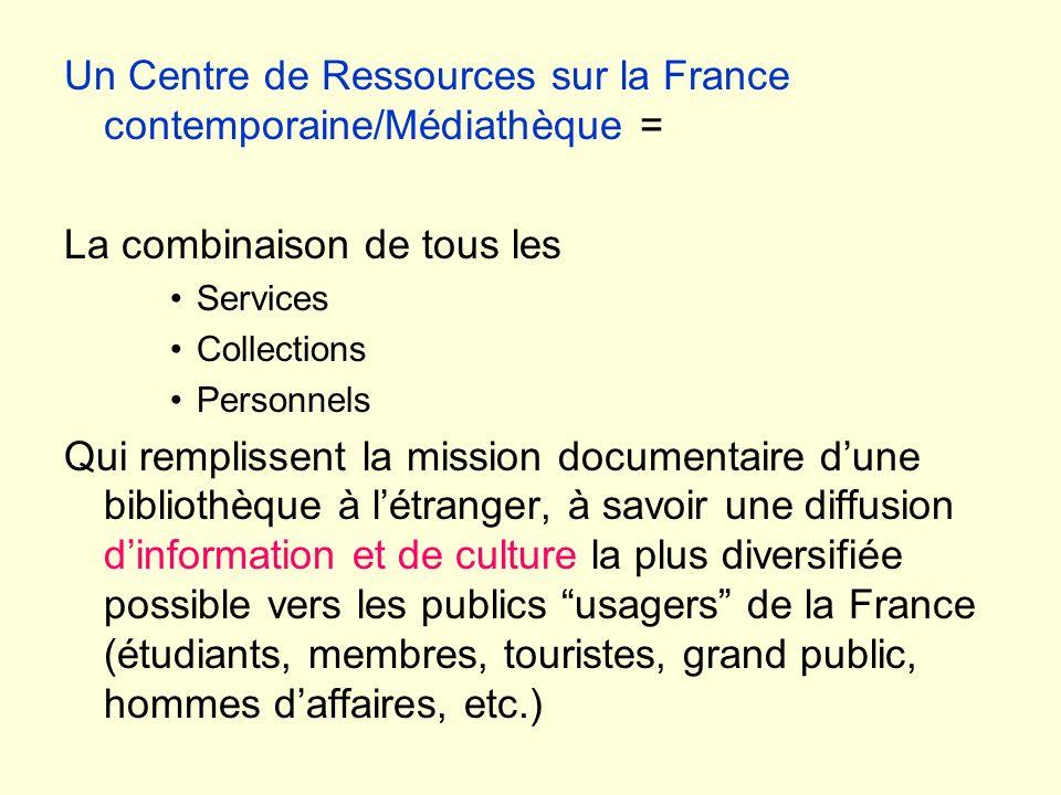 Un Centre de Ressources sur la France contemporaine/Médiathèque = La combinaison de tous les Services Collections Personnels Qui remplissent la missio