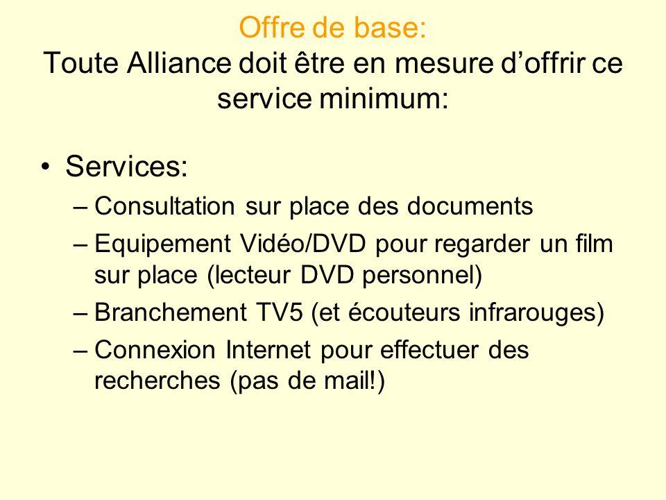 Offre de base: Toute Alliance doit être en mesure doffrir ce service minimum: Services: –Consultation sur place des documents –Equipement Vidéo/DVD po
