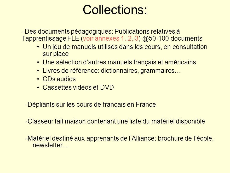 Collections: -Des documents pédagogiques: Publications relatives à lapprentissage FLE (voir annexes 1, 2, 3) @50-100 documents Un jeu de manuels utili