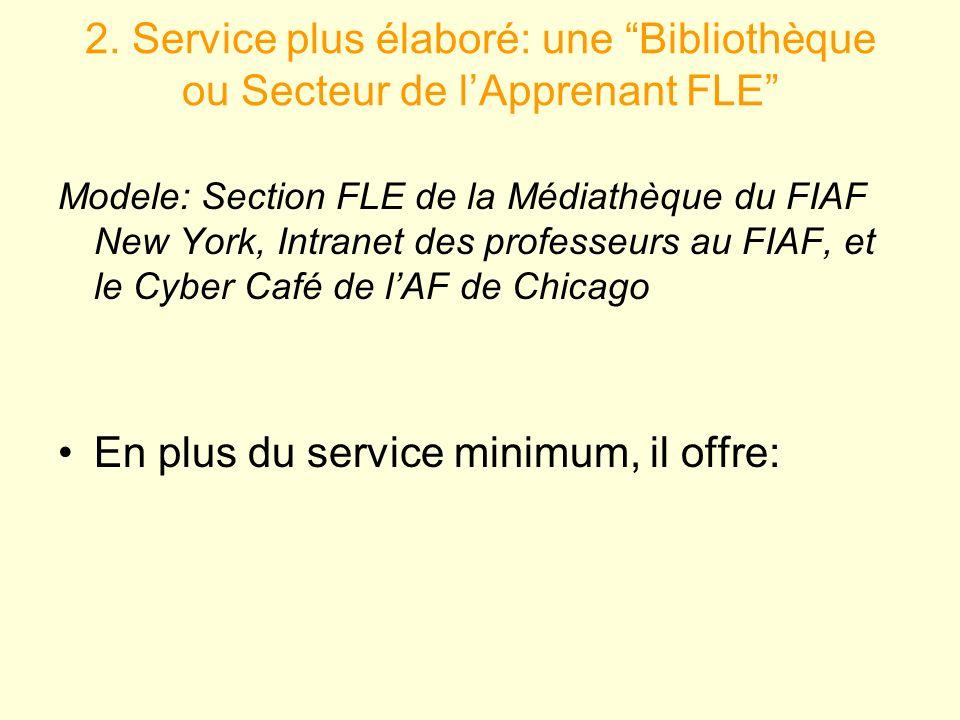 2. Service plus élaboré: une Bibliothèque ou Secteur de lApprenant FLE Modele: Section FLE de la Médiathèque du FIAF New York, Intranet des professeur