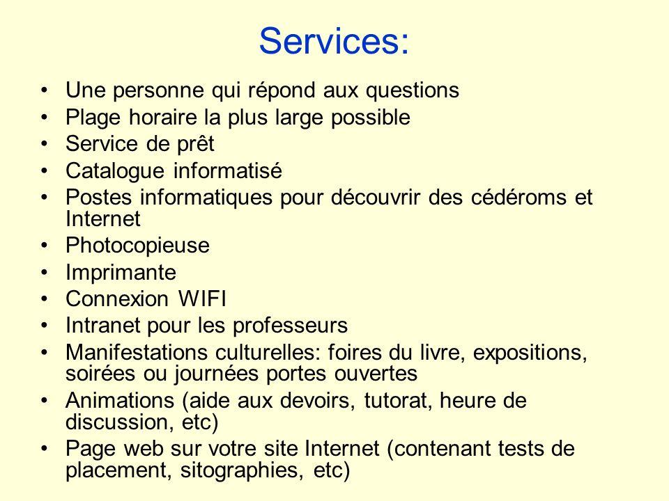 Services: Une personne qui répond aux questions Plage horaire la plus large possible Service de prêt Catalogue informatisé Postes informatiques pour d
