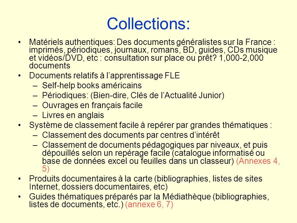 Collections: Matériels authentiques: Des documents généralistes sur la France : imprimés, périodiques, journaux, romans, BD, guides, CDs musique et vi