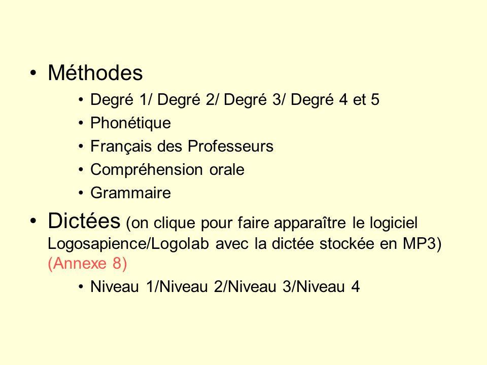 Méthodes Degré 1/ Degré 2/ Degré 3/ Degré 4 et 5 Phonétique Français des Professeurs Compréhension orale Grammaire Dictées (on clique pour faire appar